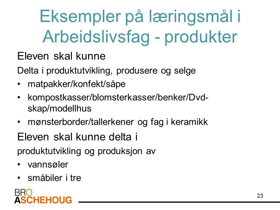 Eksempler på læringsmål i Arbeidslivsfag - produkter Eleven skal kunne Delta i produktutvikling, produsere og selge •matpakker/konfekt/såpe •kompostka