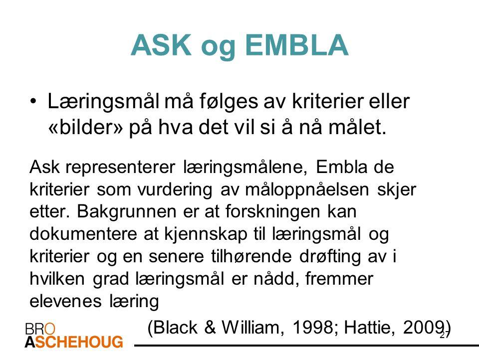 ASK og EMBLA •Læringsmål må følges av kriterier eller «bilder» på hva det vil si å nå målet. Ask representerer læringsmålene, Embla de kriterier som v