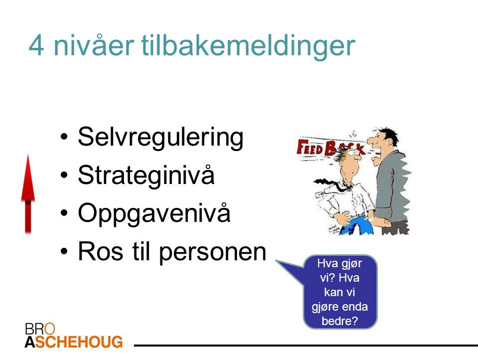 4 nivåer tilbakemeldinger •Selvregulering •Strateginivå •Oppgavenivå •Ros til personen Hva gjør vi? Hva kan vi gjøre enda bedre?