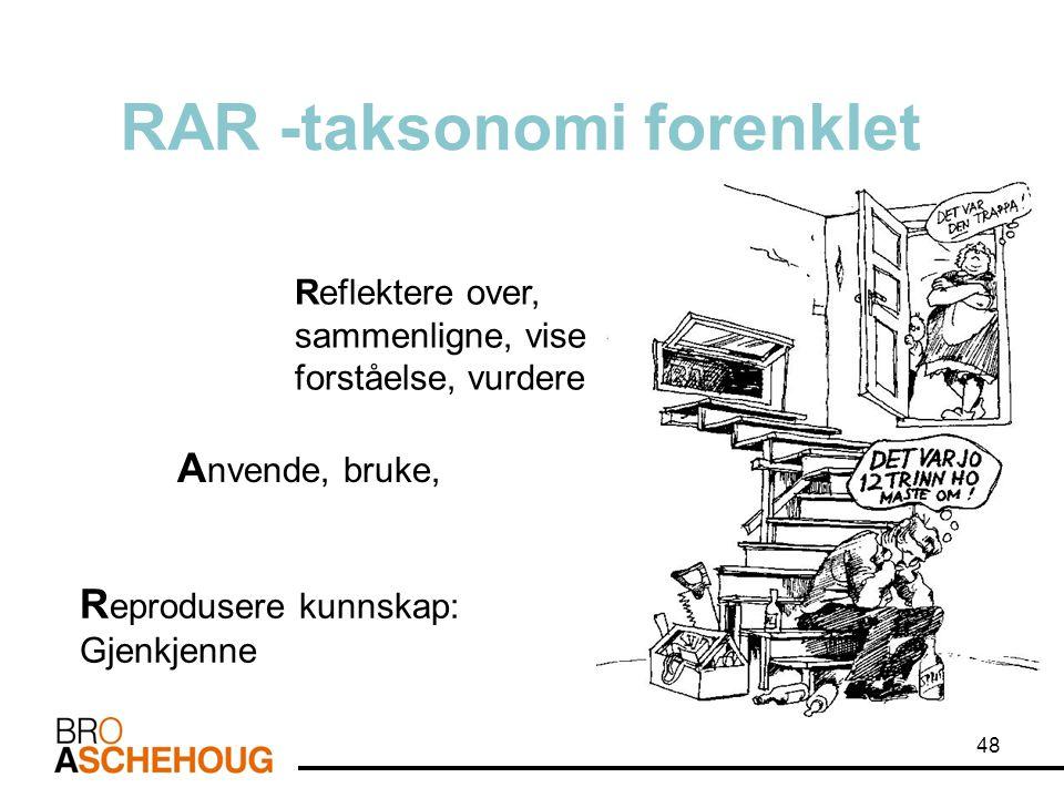 RAR -taksonomi forenklet R eprodusere kunnskap: Gjenkjenne Reflektere over, sammenligne, vise forståelse, vurdere A nvende, bruke, 48