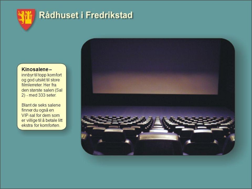 Kinosalene – innbyr til topp komfort og god utsikt til store filmlerreter. Her fra den største salen (Sal 2) - med 333 seter. Blant de seks salene fin