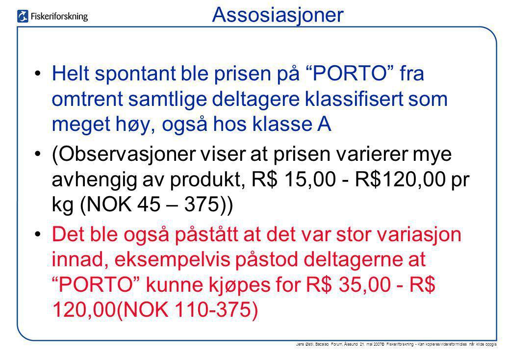 """Jens Østli, Bacalao Forum, Ålesund 21. mai 2007© Fiskeriforskning - Kan kopieres/videreformidles når kilde oppgis •Helt spontant ble prisen på """"PORTO"""""""