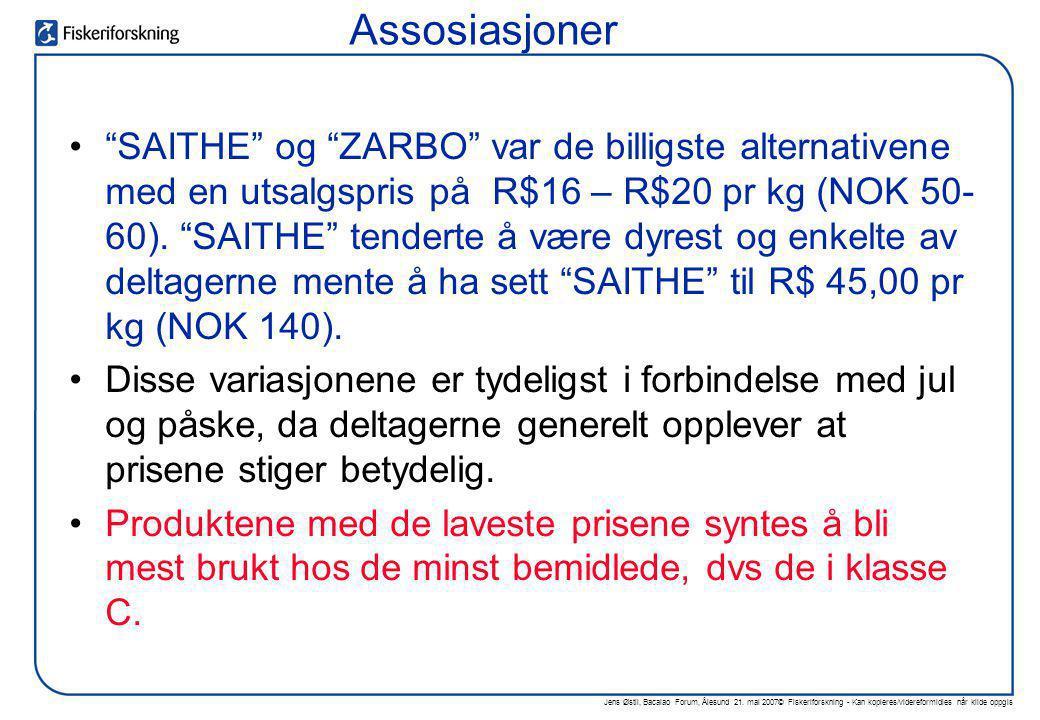 """Jens Østli, Bacalao Forum, Ålesund 21. mai 2007© Fiskeriforskning - Kan kopieres/videreformidles når kilde oppgis •""""SAITHE"""" og """"ZARBO"""" var de billigst"""