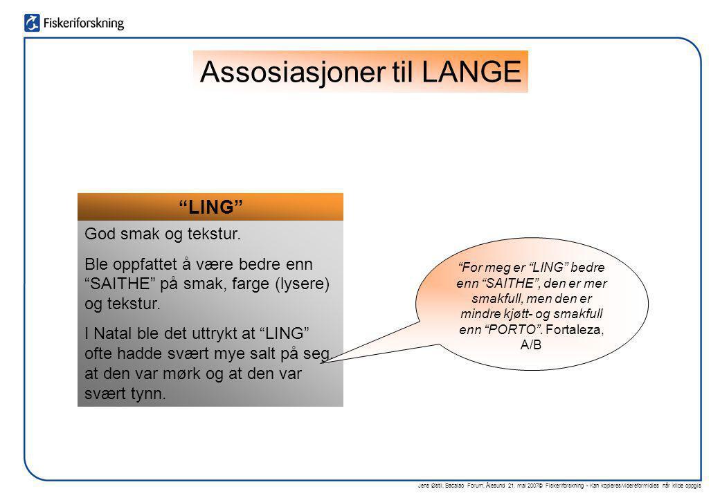 """Jens Østli, Bacalao Forum, Ålesund 21. mai 2007© Fiskeriforskning - Kan kopieres/videreformidles når kilde oppgis """"LING"""" God smak og tekstur. Ble oppf"""