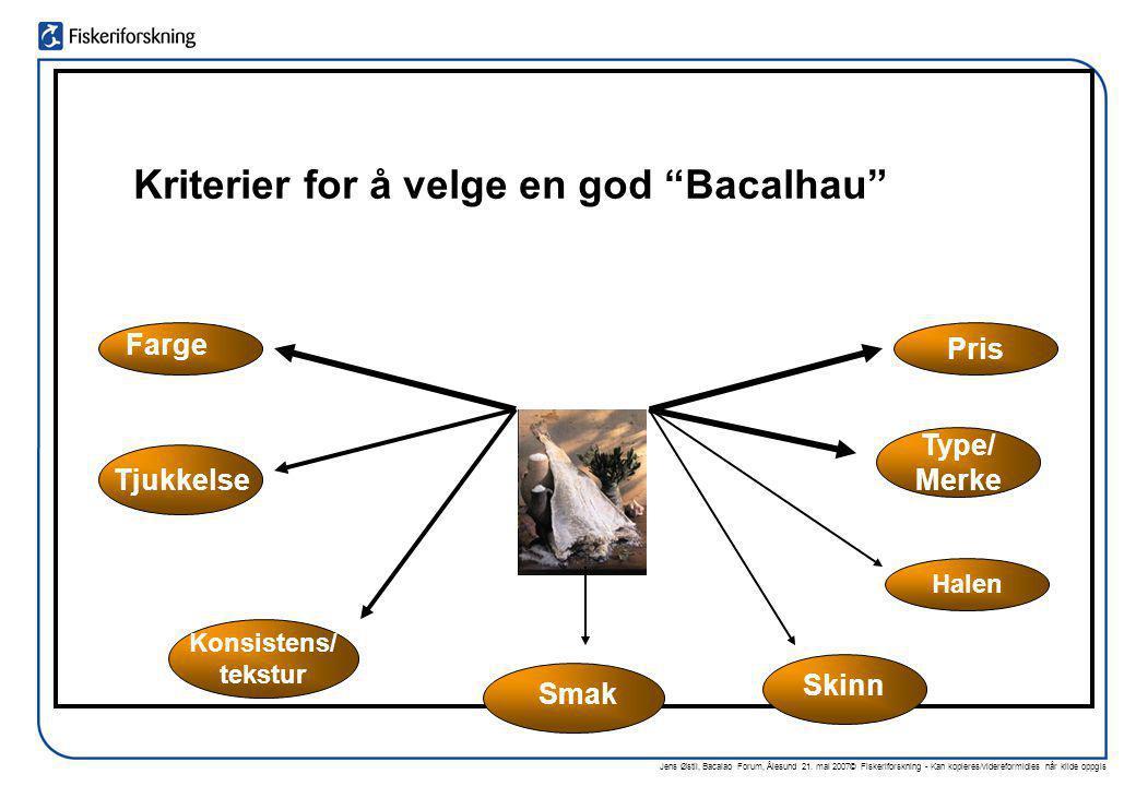 """Jens Østli, Bacalao Forum, Ålesund 21. mai 2007© Fiskeriforskning - Kan kopieres/videreformidles når kilde oppgis Kriterier for å velge en god """"Bacalh"""