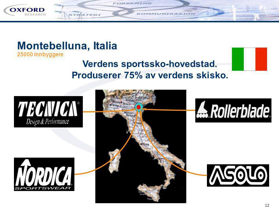 12 Montebelluna, Italia 25000 innbyggere Verdens sportssko-hovedstad. Produserer 75% av verdens skisko.
