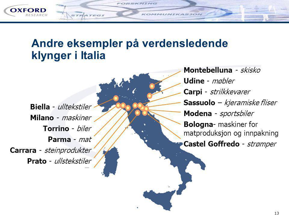 13 Biella - ulltekstiler Milano - maskiner Torrino - biler Parma - mat Carrara - steinprodukter Prato - ullstekstiler Andre eksempler på verdensledend