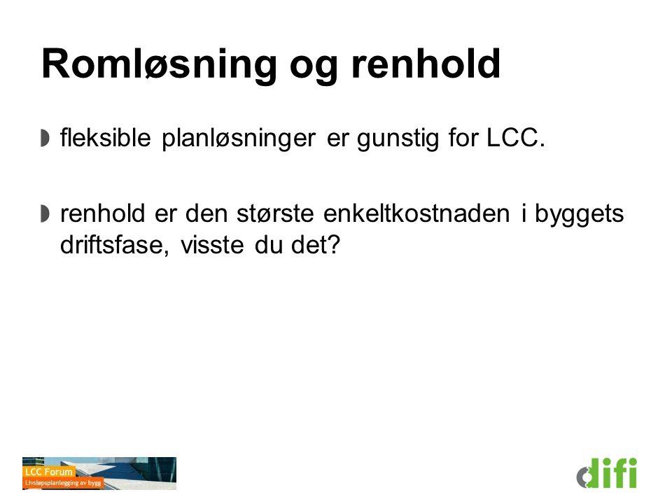 Romløsning og renhold fleksible planløsninger er gunstig for LCC. renhold er den største enkeltkostnaden i byggets driftsfase, visste du det?