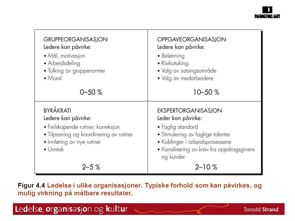 Figur 4.4 Ledelse i ulike organisasjoner. Typiske forhold som kan påvirkes, og mulig virkning på målbare resultater.