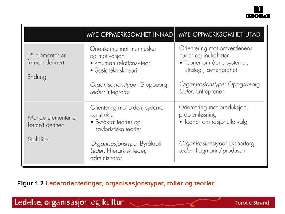 Figur 1.2 Lederorienteringer, organisasjonstyper, roller og teorier.