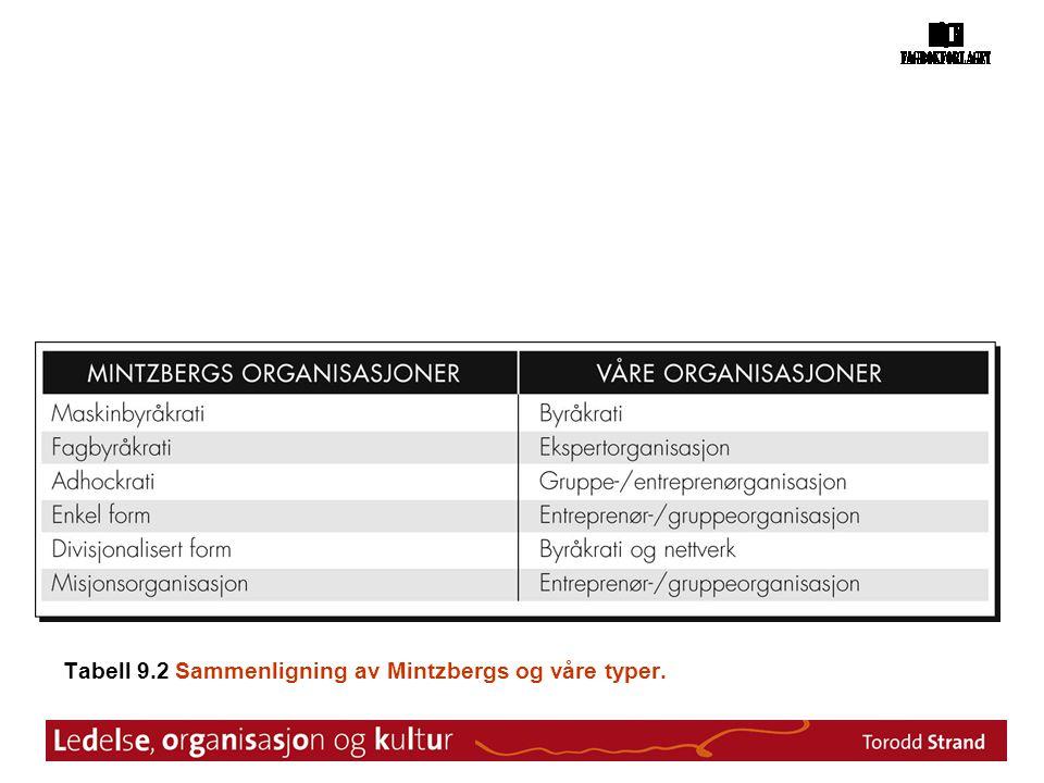 Tabell 9.2 Sammenligning av Mintzbergs og våre typer.