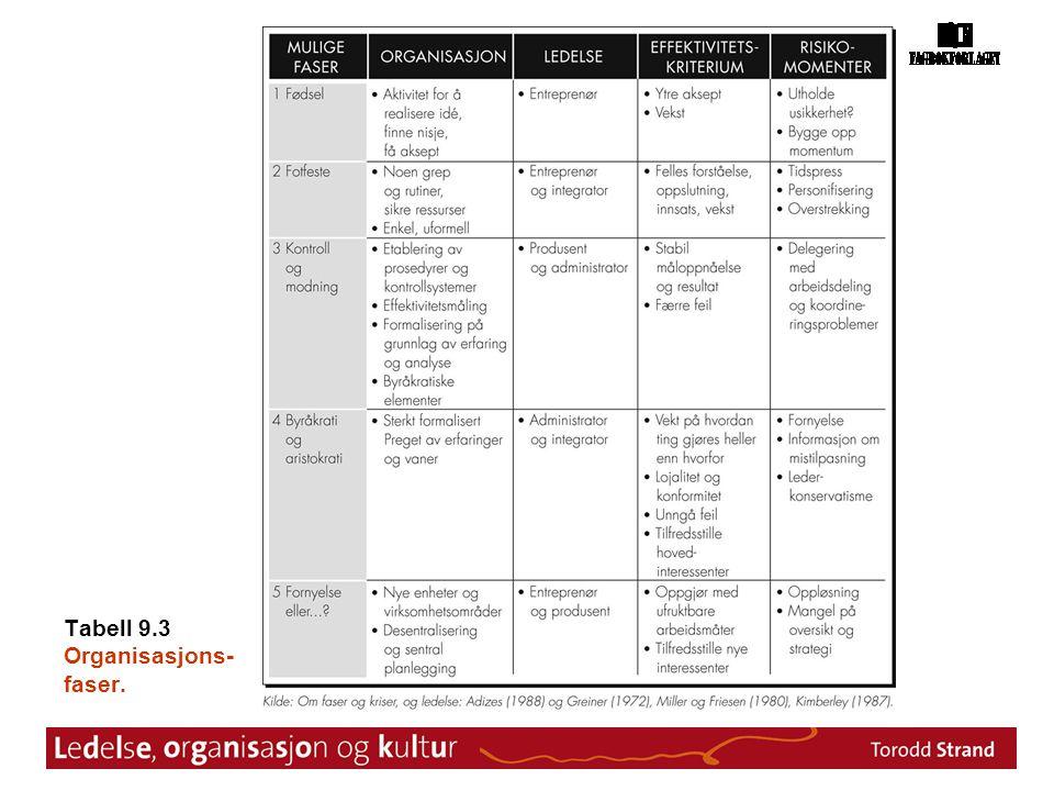 Tabell 9.3 Organisasjons- faser.