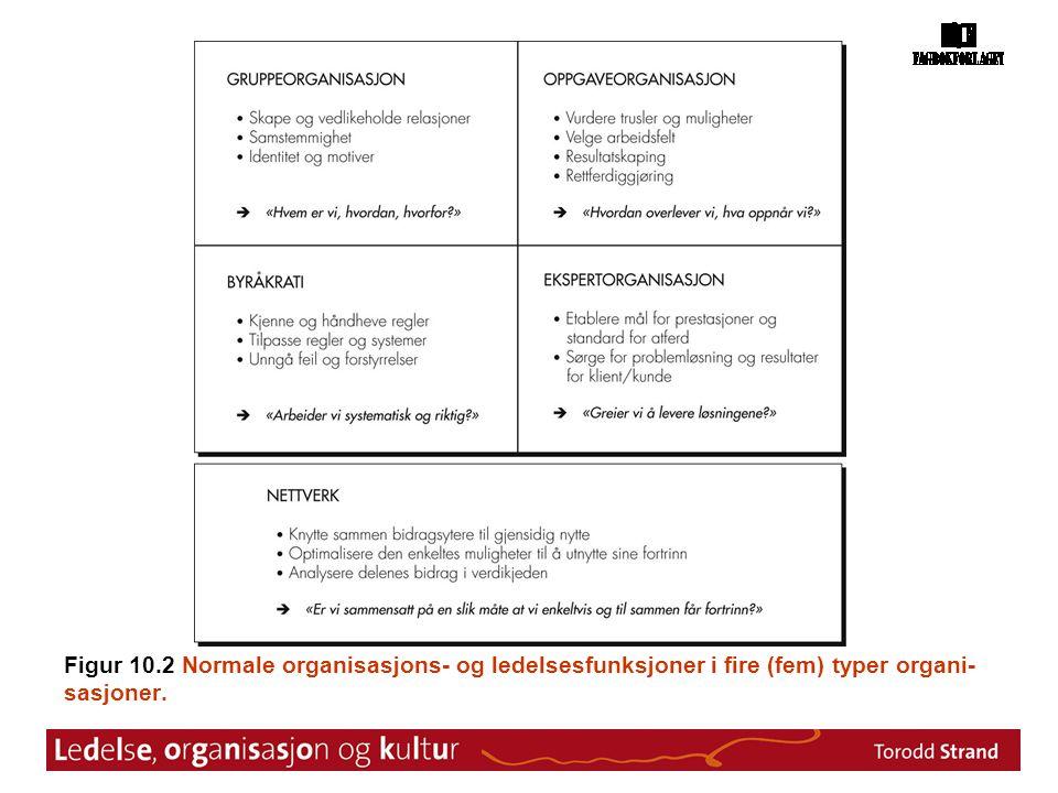 Figur 10.2 Normale organisasjons- og ledelsesfunksjoner i fire (fem) typer organi- sasjoner.
