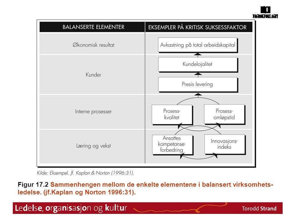 Figur 17.2 Sammenhengen mellom de enkelte elementene i balansert virksomhets- ledelse. (jf.Kaplan og Norton 1996:31).