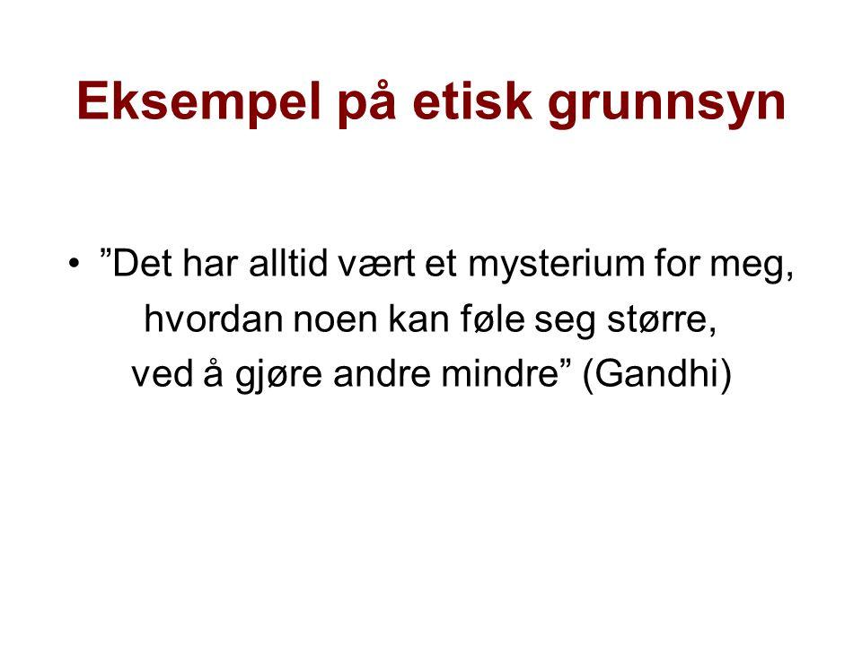 Eksempel på etisk grunnsyn • Det har alltid vært et mysterium for meg, hvordan noen kan føle seg større, ved å gjøre andre mindre (Gandhi)