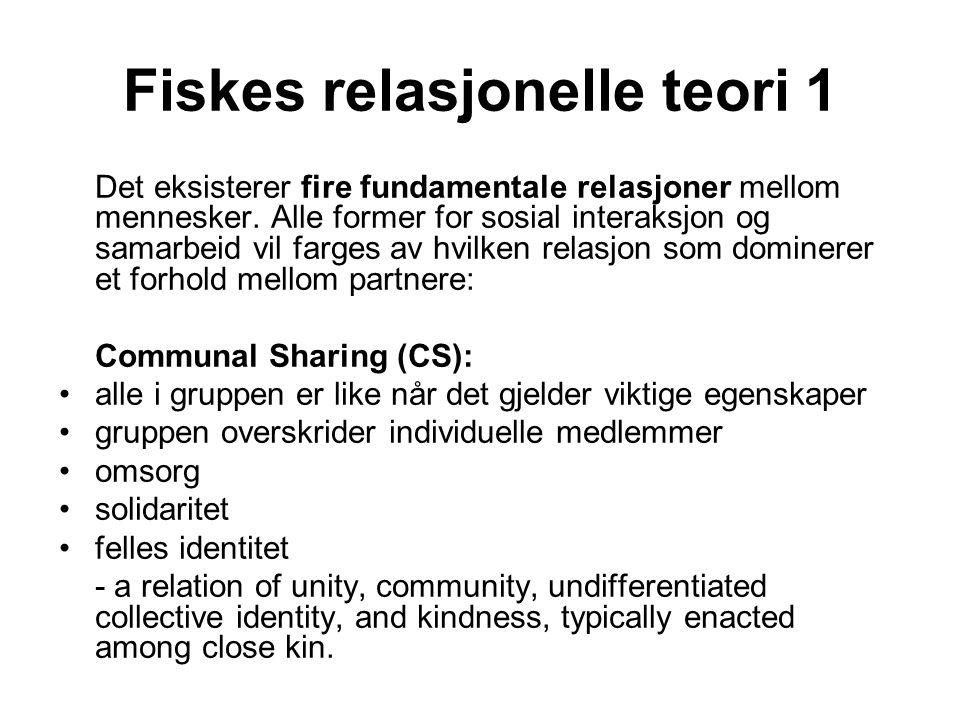 Fiskes relasjonelle teori 1 Det eksisterer fire fundamentale relasjoner mellom mennesker.