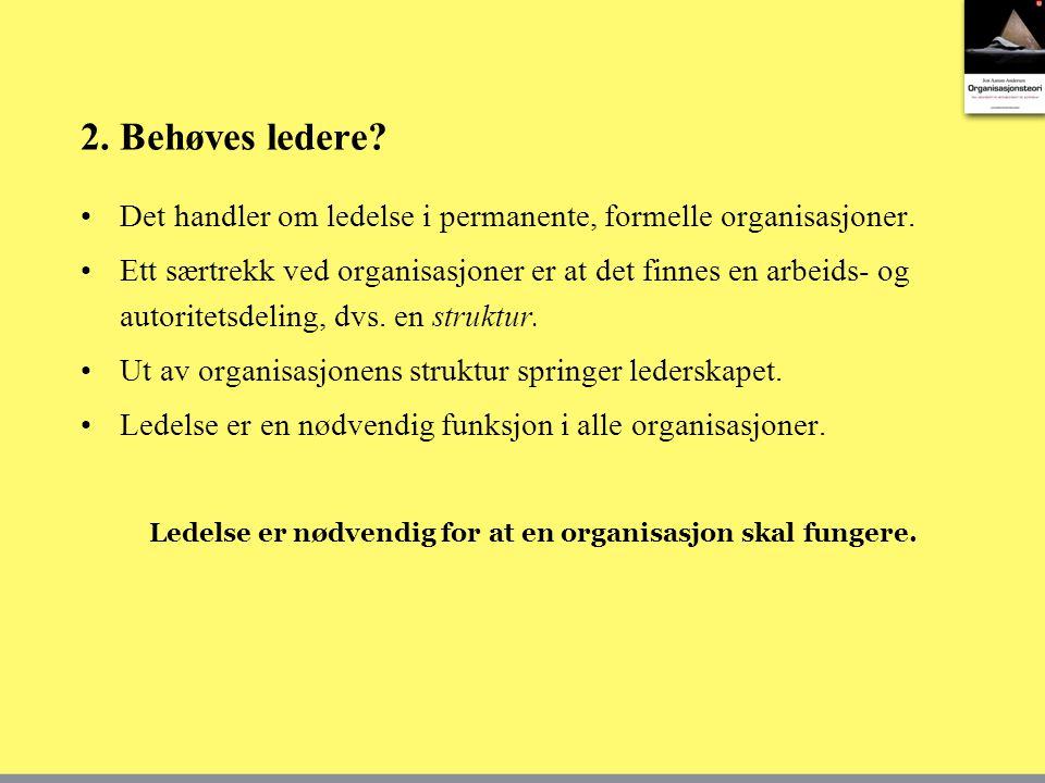 2.Behøves ledere. •Det handler om ledelse i permanente, formelle organisasjoner.