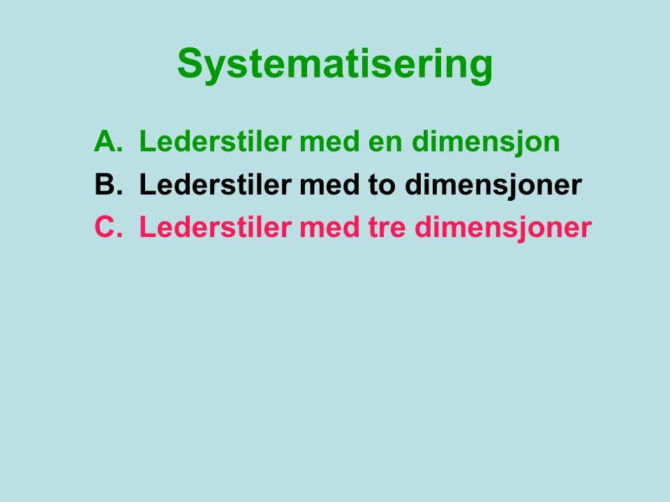 Systematisering A.Lederstiler med en dimensjon B.Lederstiler med to dimensjoner C.Lederstiler med tre dimensjoner