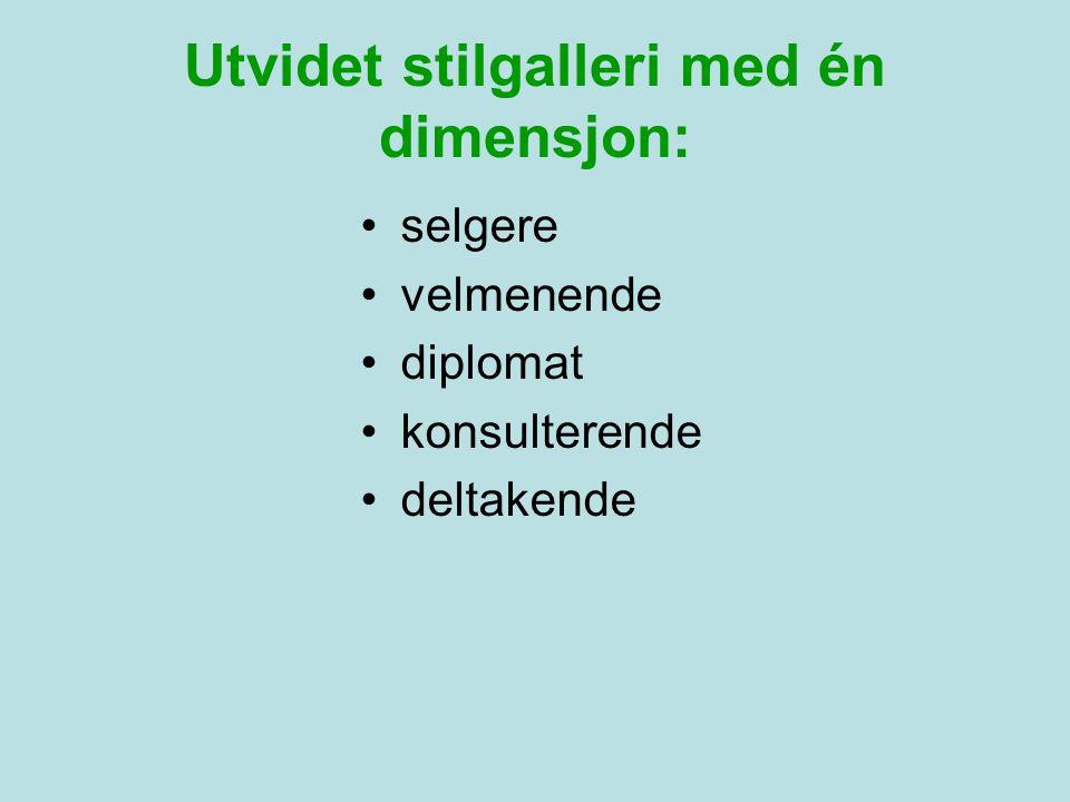 Utvidet stilgalleri med én dimensjon: •selgere •velmenende •diplomat •konsulterende •deltakende