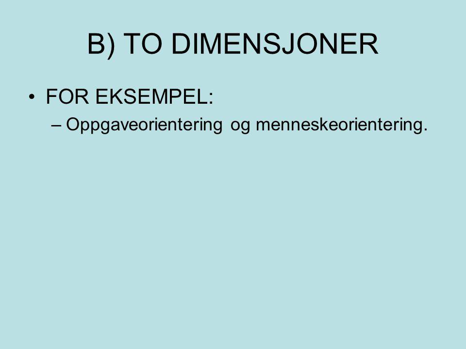 B) TO DIMENSJONER •FOR EKSEMPEL: –Oppgaveorientering og menneskeorientering.