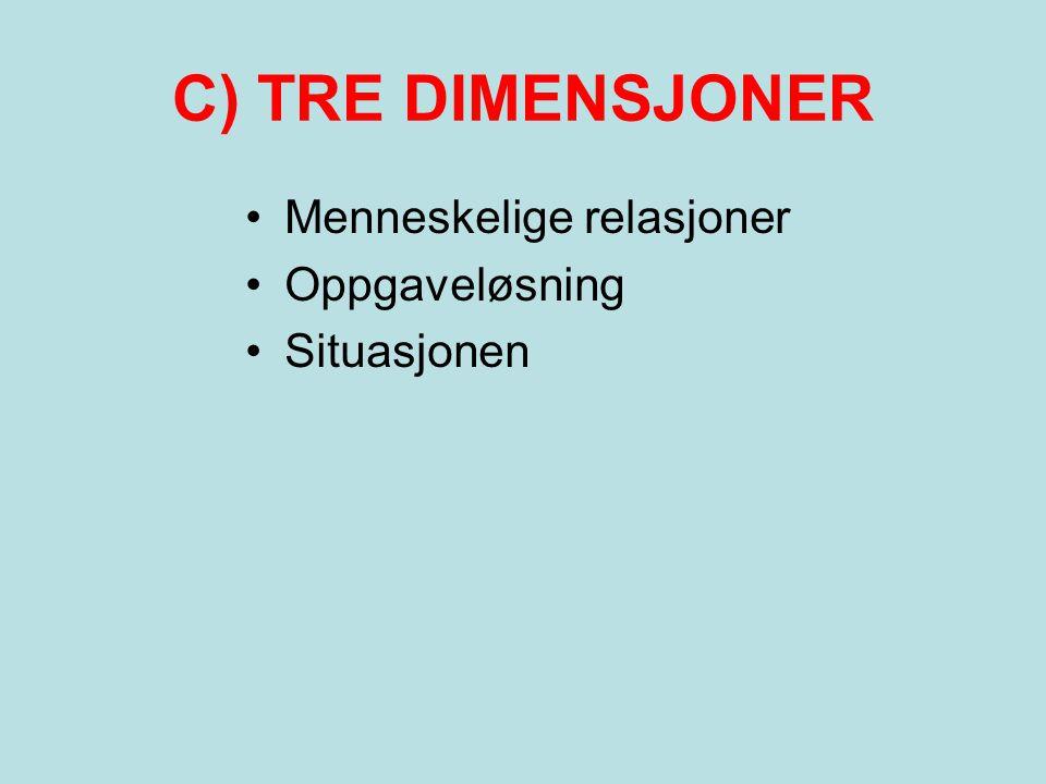 C) TRE DIMENSJONER •Menneskelige relasjoner •Oppgaveløsning •Situasjonen