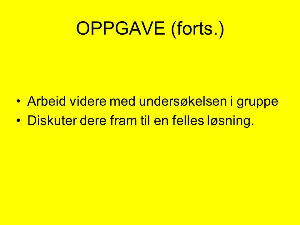 OPPGAVE (forts.) •Arbeid videre med undersøkelsen i gruppe •Diskuter dere fram til en felles løsning.