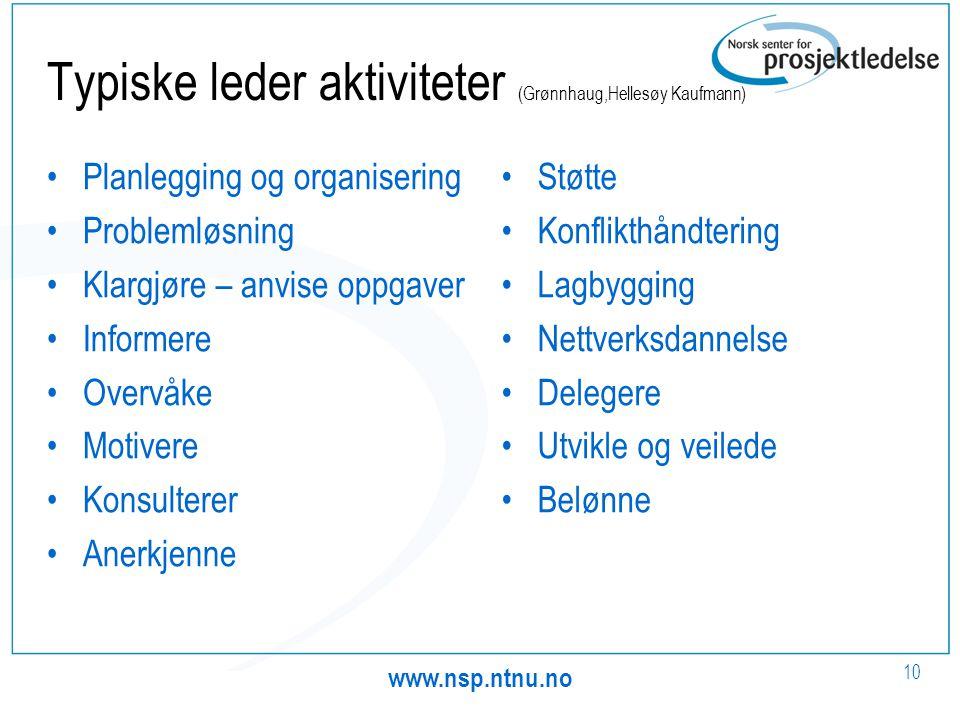 www.nsp.ntnu.no 10 Typiske leder aktiviteter (Grønnhaug,Hellesøy Kaufmann) •Planlegging og organisering •Problemløsning •Klargjøre – anvise oppgaver •