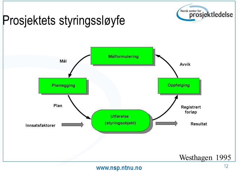 www.nsp.ntnu.no 12 Prosjektets styringssløyfe Innsatsfaktorer Utførelse (styringsobjekt) Resultat Oppfølging Målformulering Planlegging Mål Avvik Regi