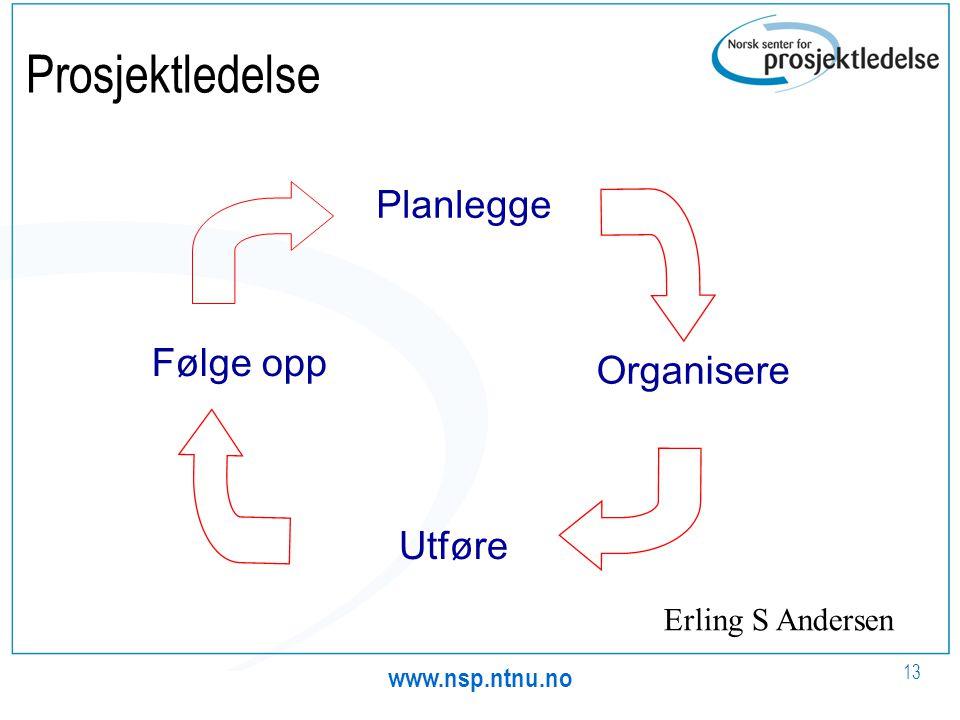 www.nsp.ntnu.no 13 Prosjektledelse Planlegge Organisere Utføre Følge opp Erling S Andersen