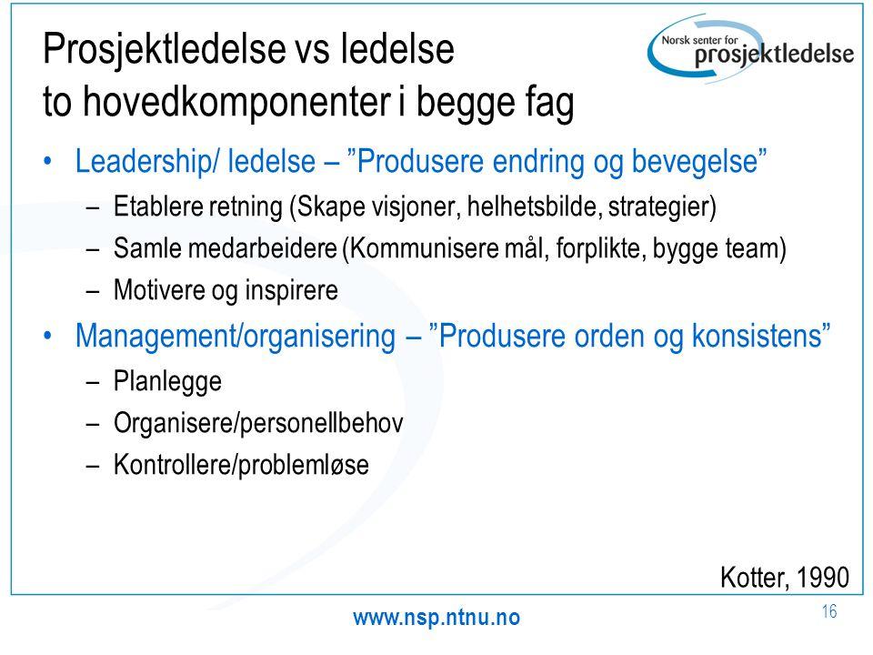 """www.nsp.ntnu.no 16 Prosjektledelse vs ledelse to hovedkomponenter i begge fag •Leadership/ ledelse – """"Produsere endring og bevegelse"""" –Etablere retnin"""