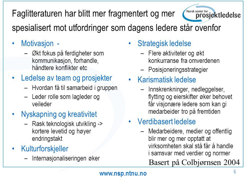 www.nsp.ntnu.no 6 Faglitteraturen har blitt mer fragmentert og mer spesialisert mot utfordringer som dagens ledere står ovenfor •Motivasjon - –Økt fok