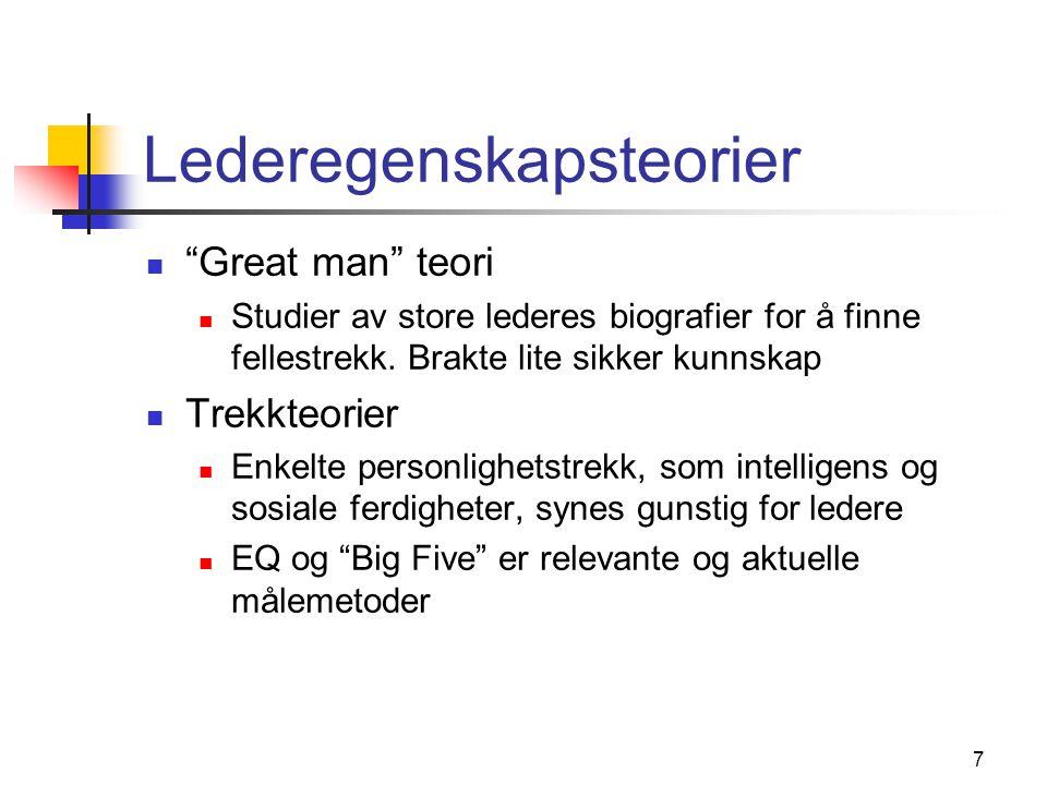 """7 Lederegenskapsteorier  """"Great man"""" teori  Studier av store lederes biografier for å finne fellestrekk. Brakte lite sikker kunnskap  Trekkteorier"""