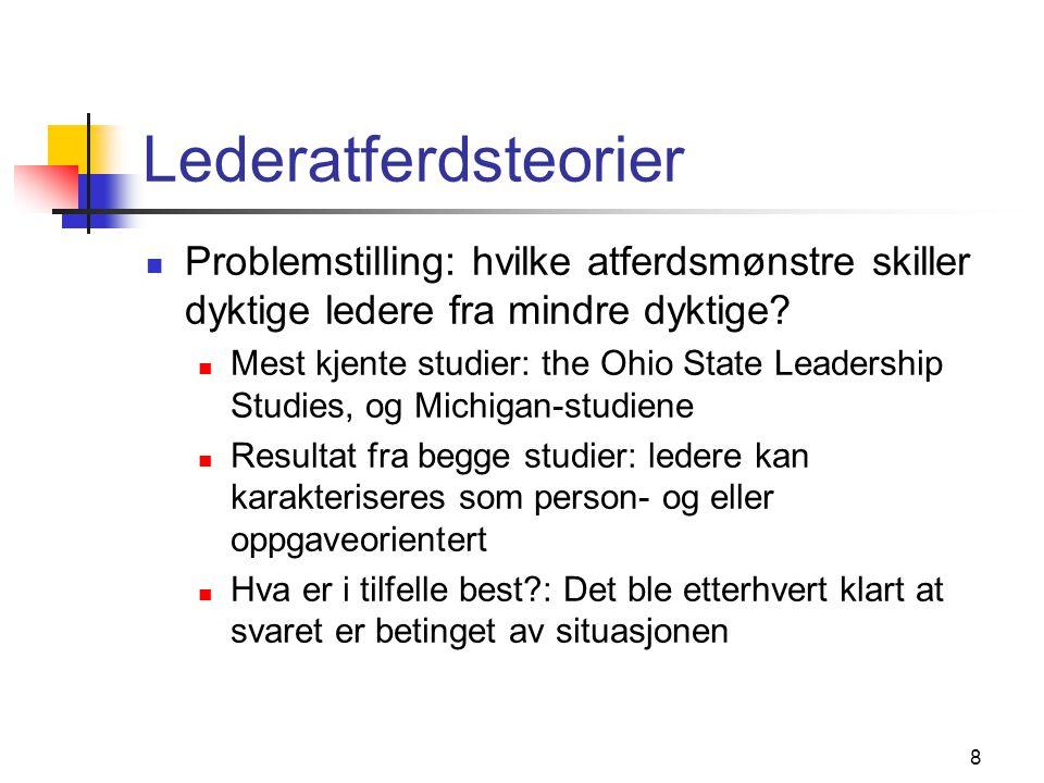 8 Lederatferdsteorier  Problemstilling: hvilke atferdsmønstre skiller dyktige ledere fra mindre dyktige?  Mest kjente studier: the Ohio State Leader