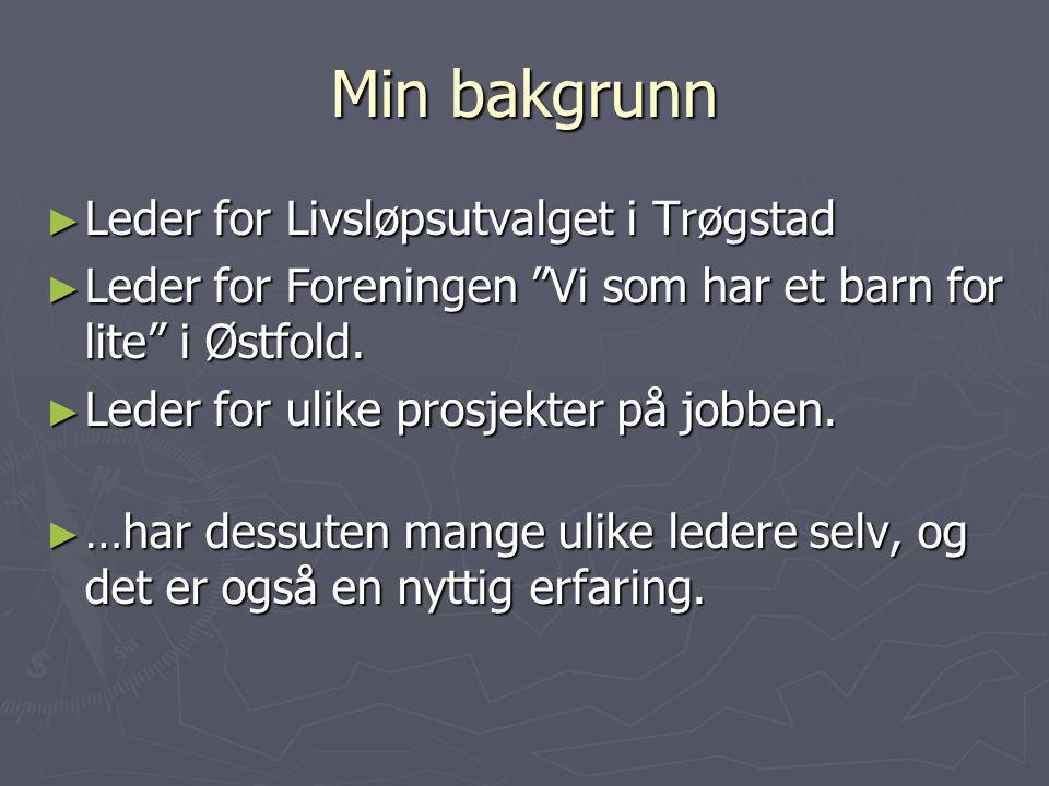 """Min bakgrunn ► Leder for Livsløpsutvalget i Trøgstad ► Leder for Foreningen """"Vi som har et barn for lite"""" i Østfold. ► Leder for ulike prosjekter på j"""