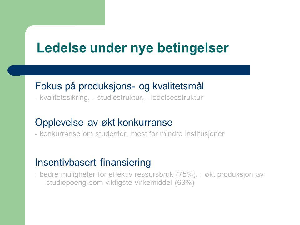 Ledelse under nye betingelser Fokus på produksjons- og kvalitetsmål - kvalitetssikring, - studiestruktur, - ledelsesstruktur Opplevelse av økt konkurranse - konkurranse om studenter, mest for mindre institusjoner Insentivbasert finansiering - bedre muligheter for effektiv ressursbruk (75%), - økt produksjon av studiepoeng som viktigste virkemiddel (63%)