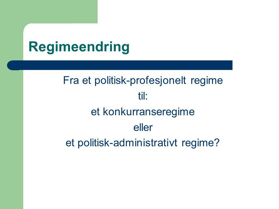 Regimeendring Fra et politisk-profesjonelt regime til: et konkurranseregime eller et politisk-administrativt regime