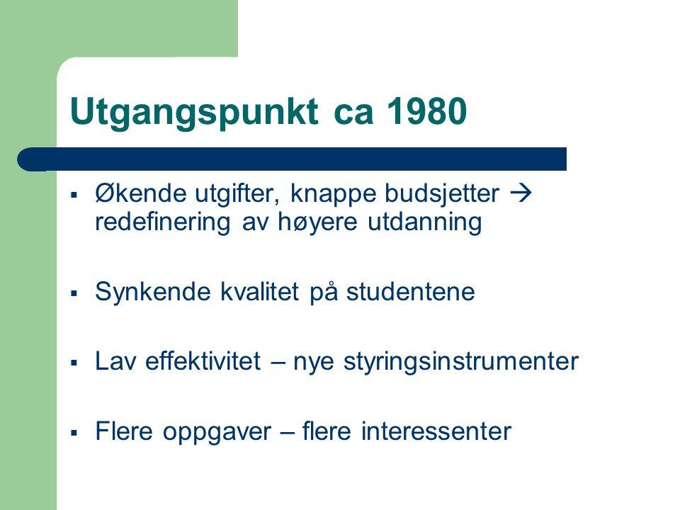 Utgangspunkt ca 1980  Økende utgifter, knappe budsjetter  redefinering av høyere utdanning  Synkende kvalitet på studentene  Lav effektivitet – nye styringsinstrumenter  Flere oppgaver – flere interessenter