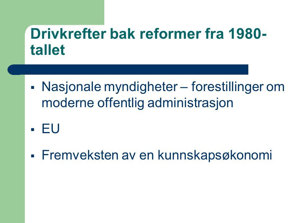 Drivkrefter bak reformer fra 1980- tallet  Nasjonale myndigheter – forestillinger om moderne offentlig administrasjon  EU  Fremveksten av en kunnskapsøkonomi