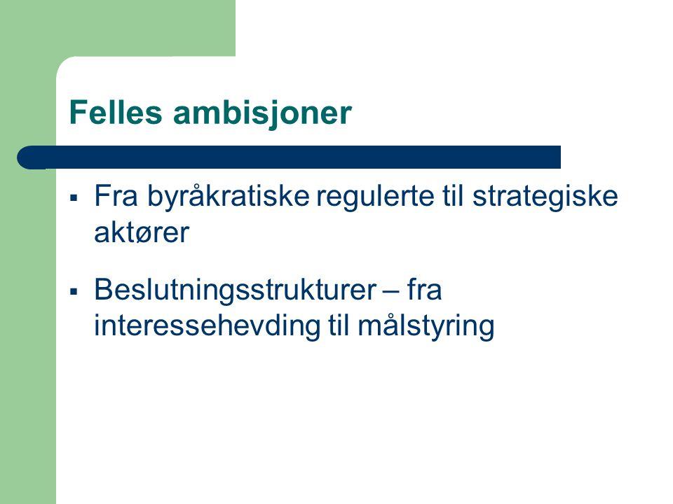 Felles ambisjoner  Fra byråkratiske regulerte til strategiske aktører  Beslutningsstrukturer – fra interessehevding til målstyring
