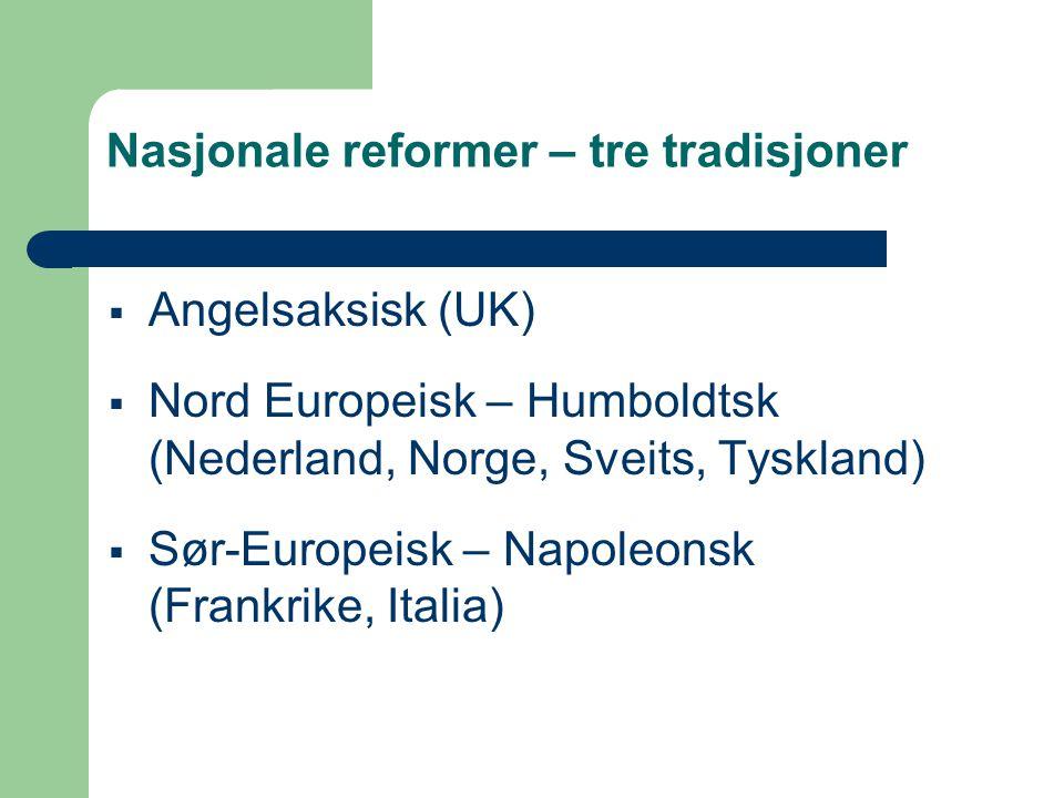 Nasjonale reformer – tre tradisjoner  Angelsaksisk (UK)  Nord Europeisk – Humboldtsk (Nederland, Norge, Sveits, Tyskland)  Sør-Europeisk – Napoleon