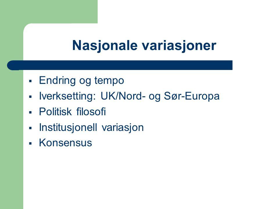 Nasjonale variasjoner  Endring og tempo  Iverksetting: UK/Nord- og Sør-Europa  Politisk filosofi  Institusjonell variasjon  Konsensus