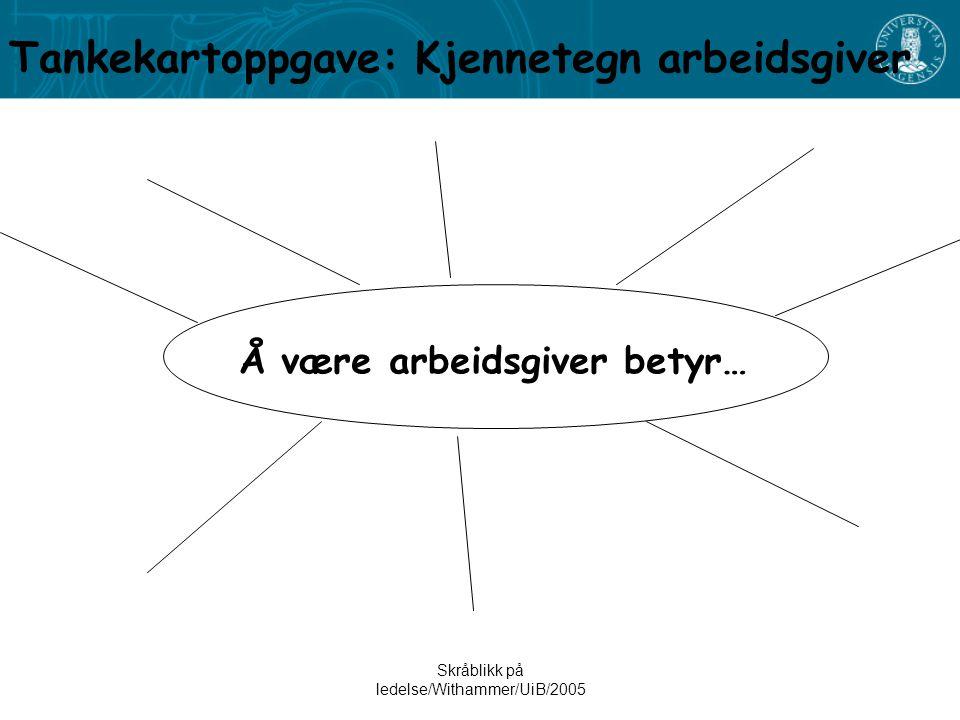 Skråblikk på ledelse/Withammer/UiB/2005 Å være arbeidsgiver betyr… Tankekartoppgave: Kjennetegn arbeidsgiver