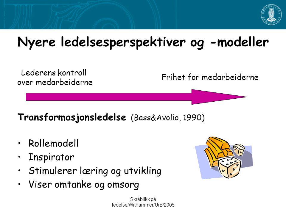 Skråblikk på ledelse/Withammer/UiB/2005 Nyere ledelsesperspektiver og -modeller Transformasjonsledelse (Bass&Avolio, 1990) •Rollemodell •Inspirator •S