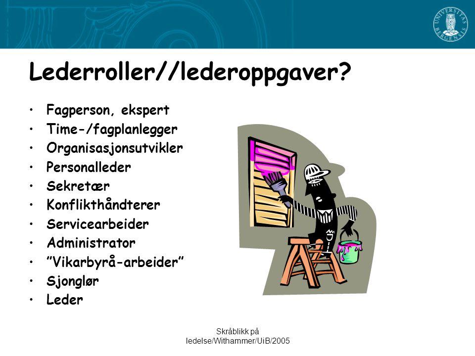 Skråblikk på ledelse/Withammer/UiB/2005 Lederroller//lederoppgaver.