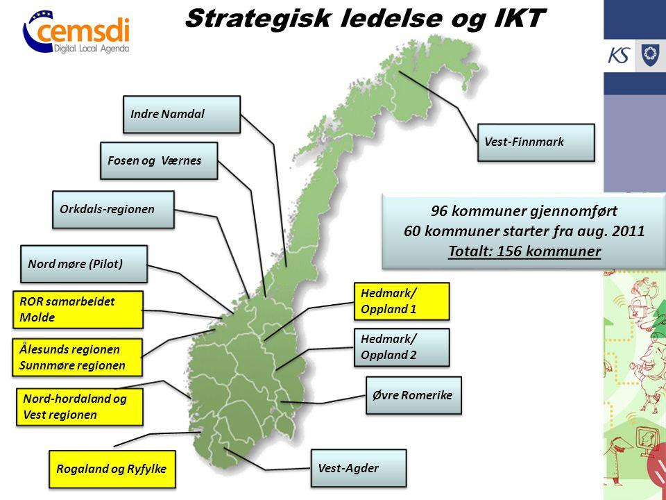 Orkdals-regionen Hedmark/ Oppland 1 Nord-hordaland og Vest regionen Fosen og Værnes Strategisk ledelse og IKT Hedmark/ Oppland 2 Ålesunds regionen Sun