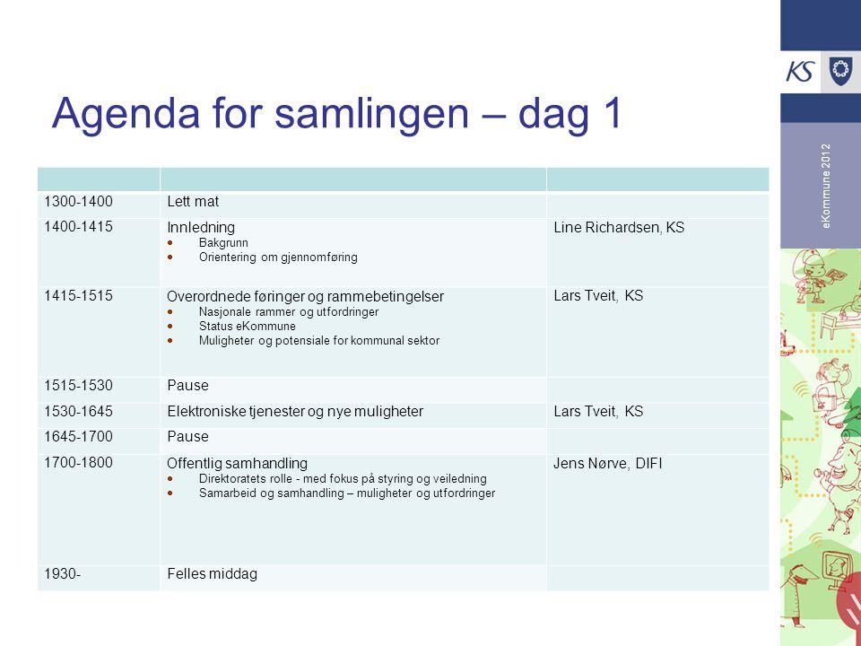 eKommune 2012 Agenda for samlingen – dag 1 1300-1400Lett mat 1400-1415Innledning  Bakgrunn  Orientering om gjennomføring Line Richardsen, KS 1415-15
