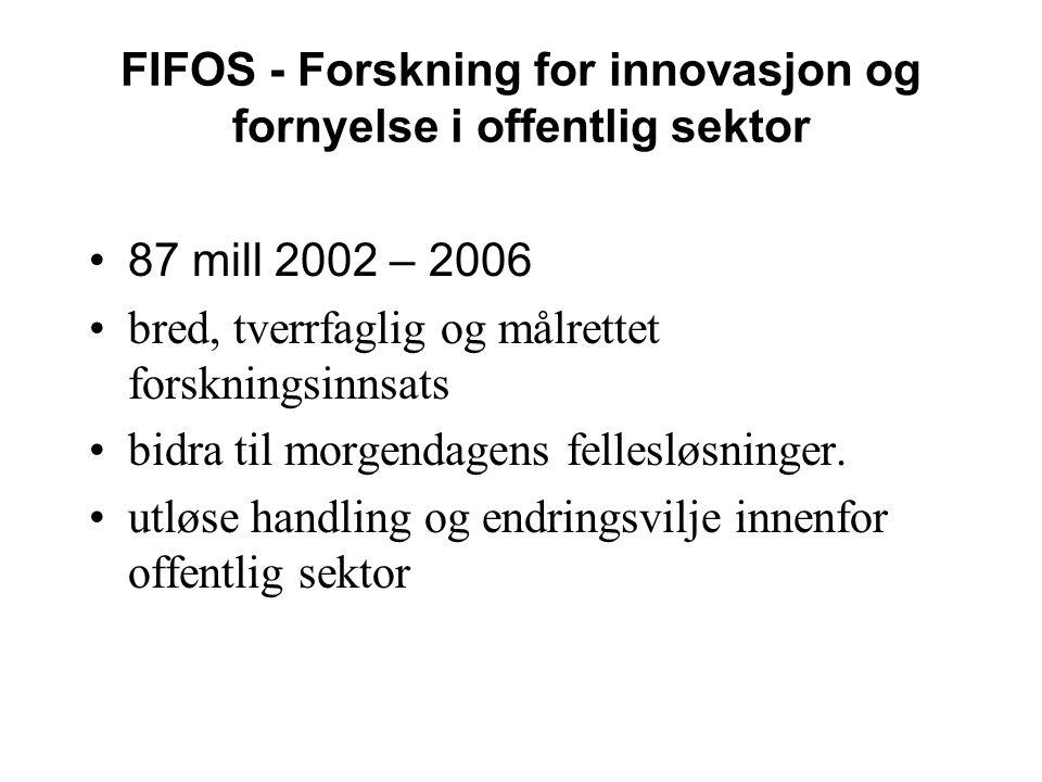FIFOS - Forskning for innovasjon og fornyelse i offentlig sektor •87 mill 2002 – 2006 •bred, tverrfaglig og målrettet forskningsinnsats •bidra til morgendagens fellesløsninger.