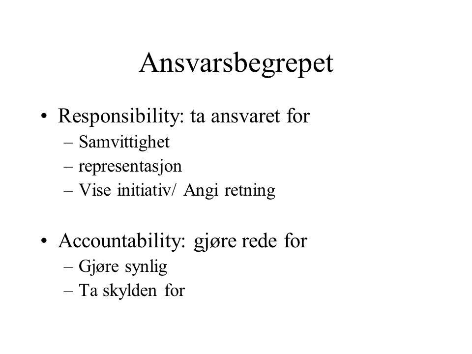 Ansvarsbegrepet •Responsibility: ta ansvaret for –Samvittighet –representasjon –Vise initiativ/ Angi retning •Accountability: gjøre rede for –Gjøre synlig –Ta skylden for