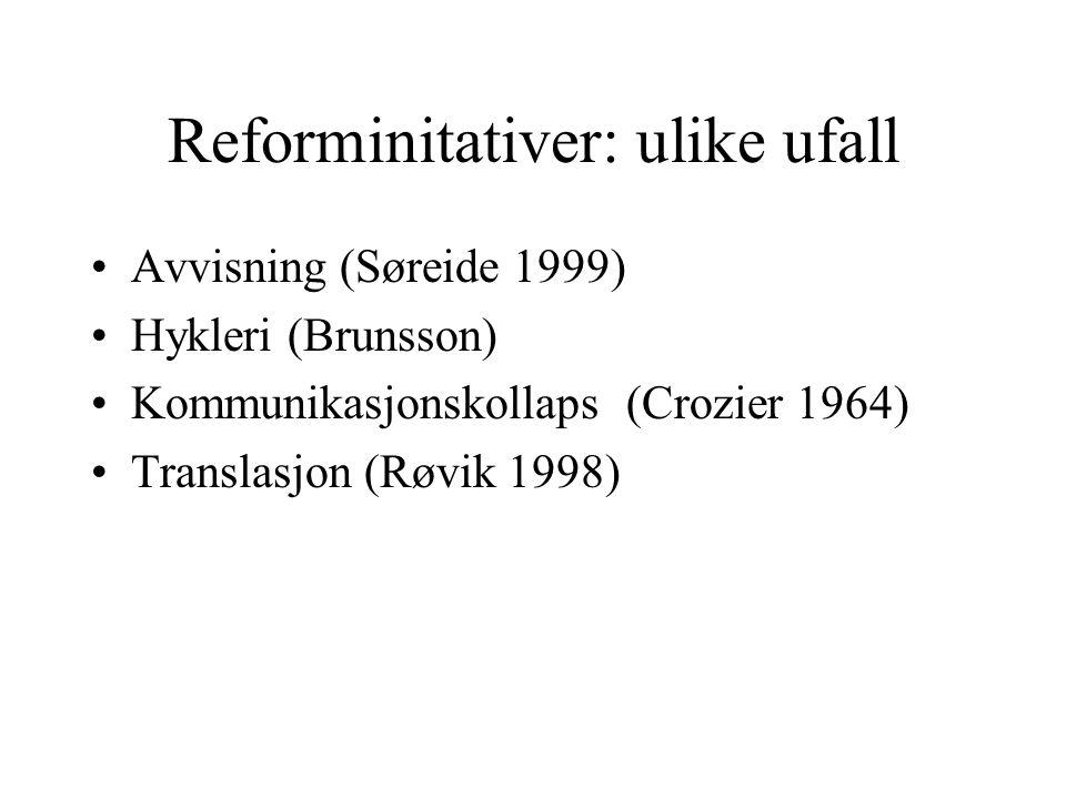 Reforminitativer: ulike ufall •Avvisning (Søreide 1999) •Hykleri (Brunsson) •Kommunikasjonskollaps (Crozier 1964) •Translasjon (Røvik 1998)