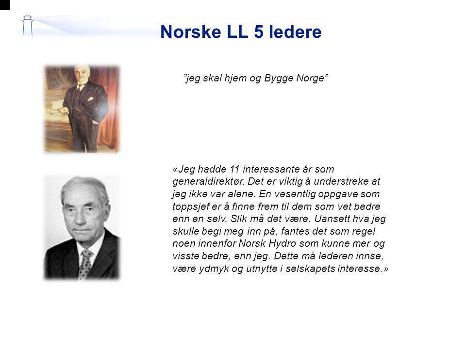 Norske LL 5 ledere jeg skal hjem og Bygge Norge 1.« Jeg hadde 11 interessante å r som generaldirekt ø r.